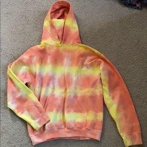 orange/yellow tie dye hoodie